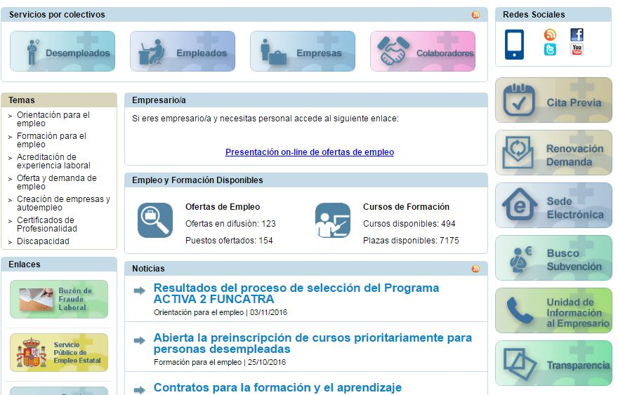 Servicio canario de empleo cursos gratuitos encuentra - Oficina virtual inem ...